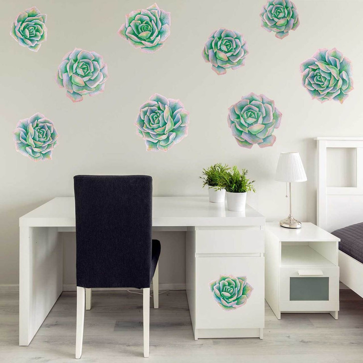 Green & Pink Succulent Watercolor Wall Decal Kit by Chromantics
