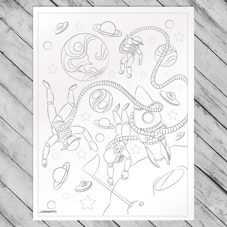 Great Space Adventurers Giant Coloring Poster
