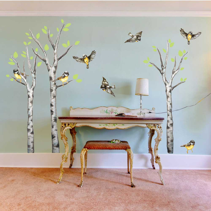 Birds and Birch Trees Watercolor Wall Decal Sticker Kit