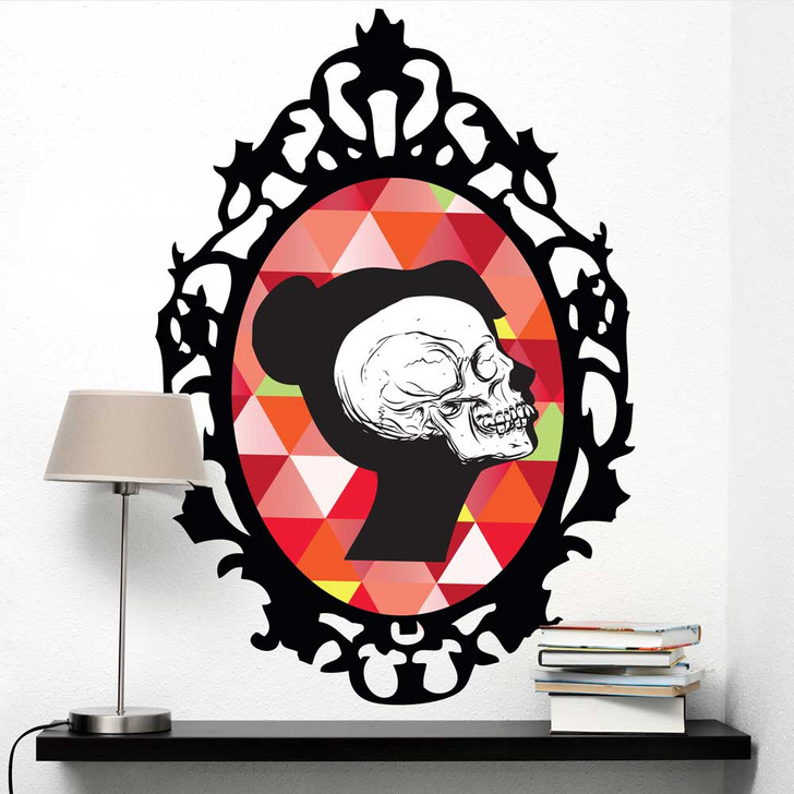 Colorful Skeleton Cameo Wall Decal in red by Chromantics