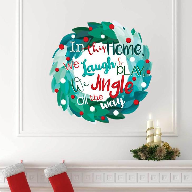 Jingle All The Way Wreath Wall Decal by Chromantics