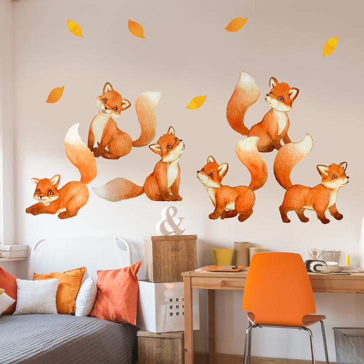 Fantastic Fox Watercolor Wall Decal Set by Chromantics