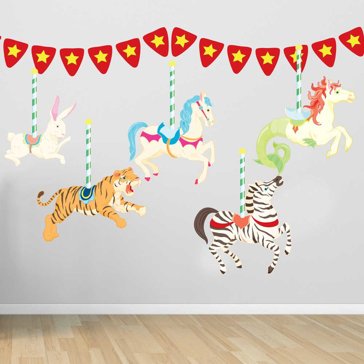 Carousel Wall Decal Set in Bright Colors by Chromantics