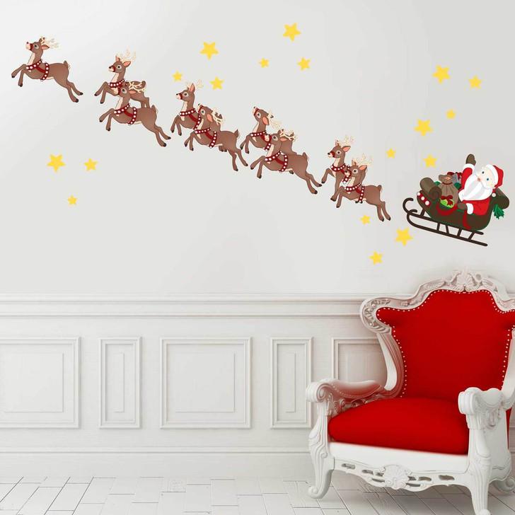 Santa's Sleigh & Reindeer Wall Decal Set by Chromantics