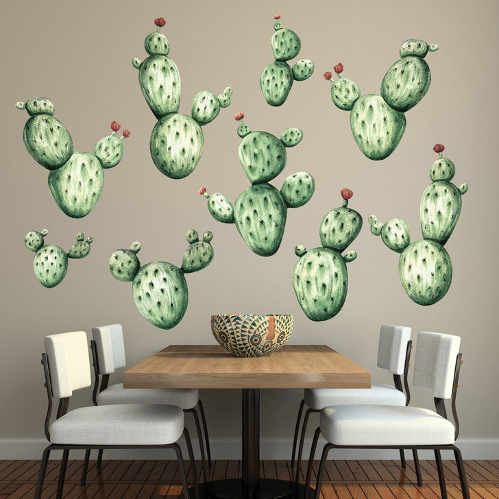 Cactus Watercolor Wall Decal Kit in Vintage Colors by Chromantics