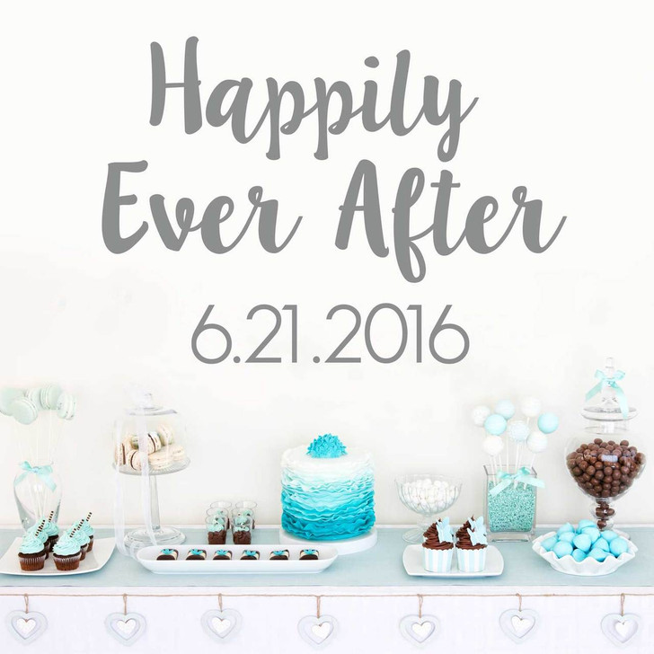 Happily Ever After Decal with Custom Date Wall Decal by Chromantics