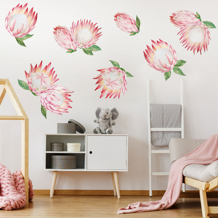 King Protea Flower Watercolor Wall Decal Sticker Kit