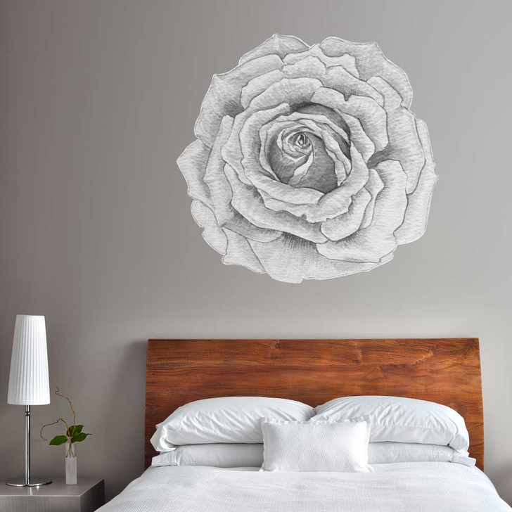 White & Grey Rose Watercolor Wall Decal Set by Chromantics