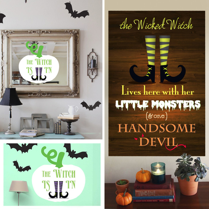 Witch Themed Halloween Signs Wall Decal Kit by Chromantics