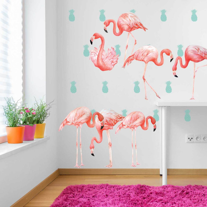 Pink Flamingo Watercolor Wall Decal Kit by Chromantics
