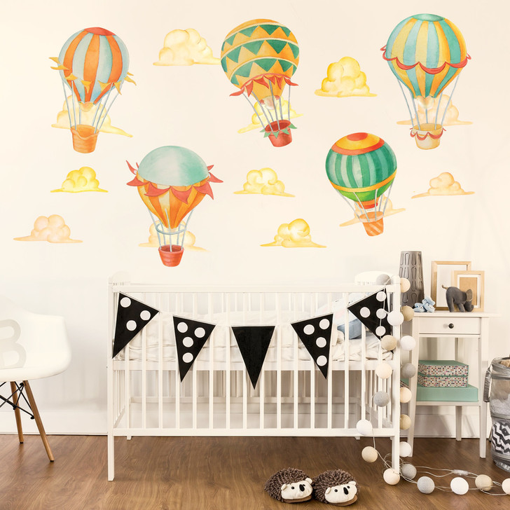 Up & Away Hot Air Balloon Watercolor Wall Decal Kit by Chromantics