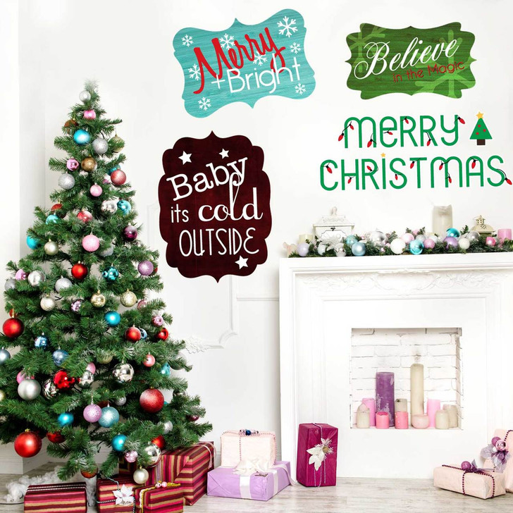 Festive Christmas Signs Wall Decal Set by Chromantics