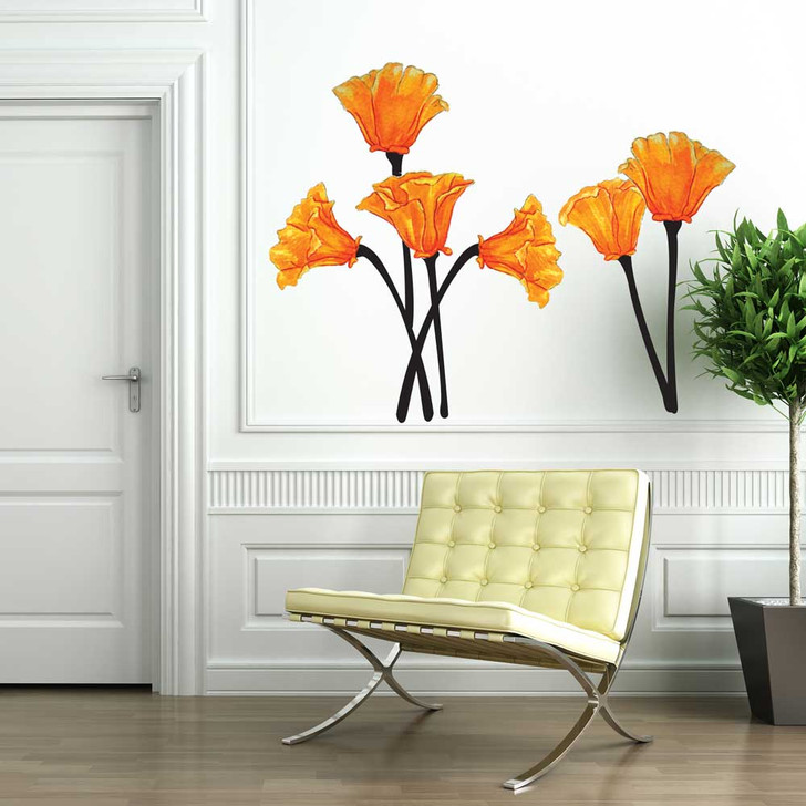 California Poppies Watercolor Wall Decal Set by Chromantics