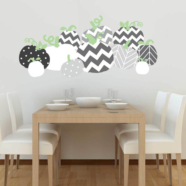 Chevron Patterned Pumpkin Wall Decal Set in Grey by Chromantics