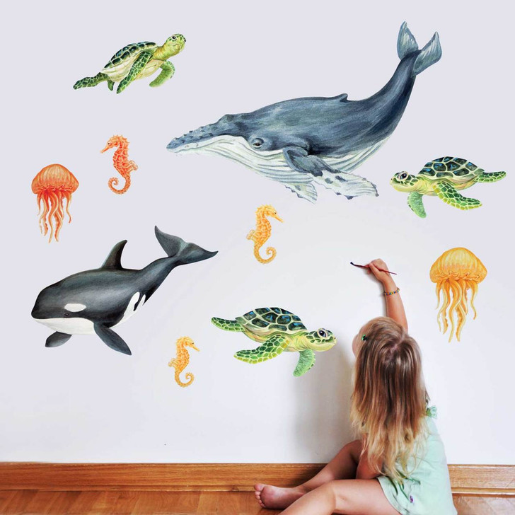 Illustrated Sea life Watercolor Wall Decal Kit by Chromantics