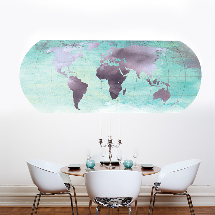 Watercolor World Map Decal by Chromantics