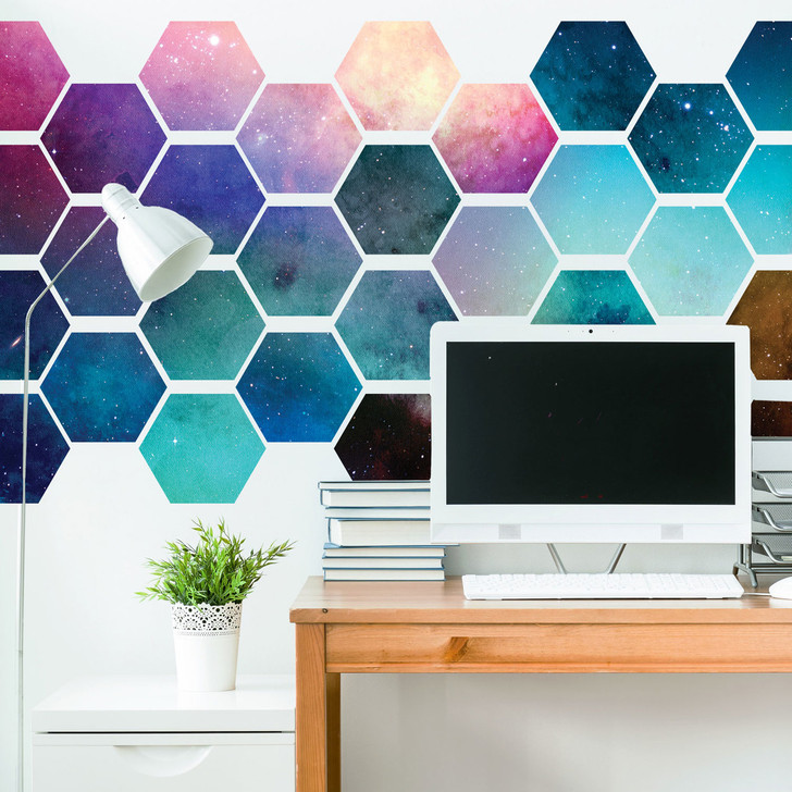 Hexagonal Space Wall Decal Tiles by Chromantics