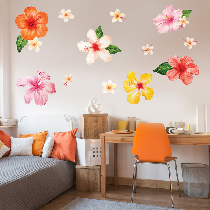 Tropical Hibiscus & Plumeria Watercolor Wall Decal by Chromantics
