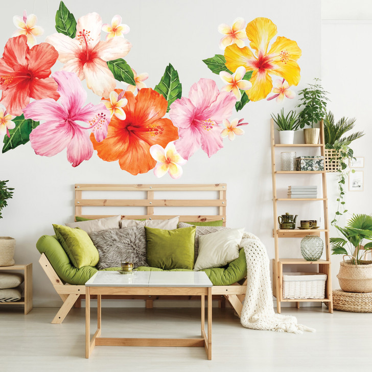 Tropical Hibiscus & Plumeria Flower Watercolor Wall Decal Sticker Set