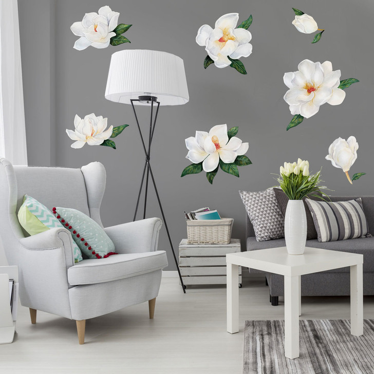 Magnolia Watercolor Wall Decal by Chromantics