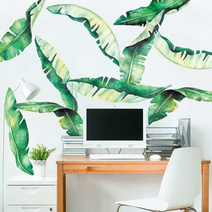 Banana Leaves Watercolor Wall Decal