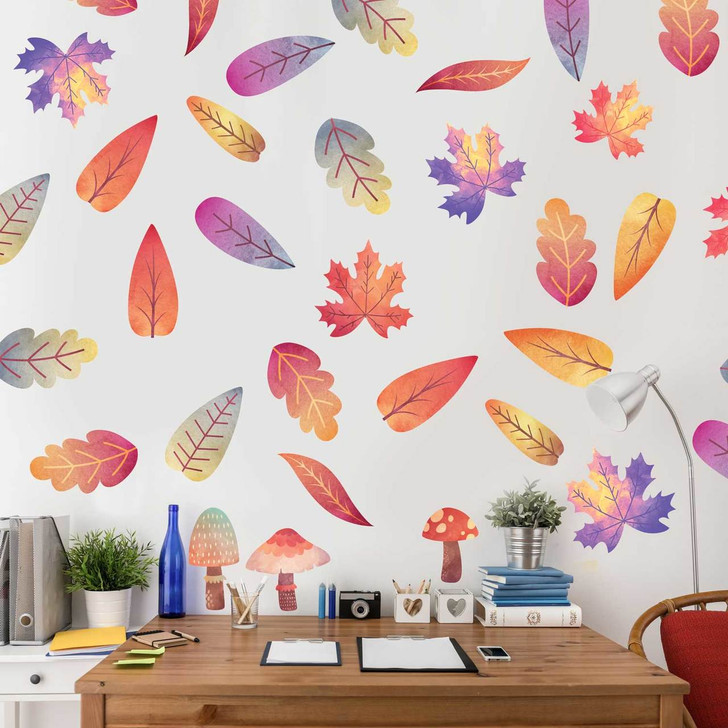 Autumn Leaves Watercolor Wall Decal Kit  Room