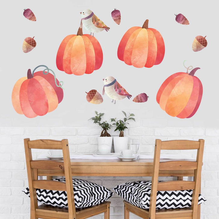 Pumpkin Watercolor Wall Decal Kit by Chromantics