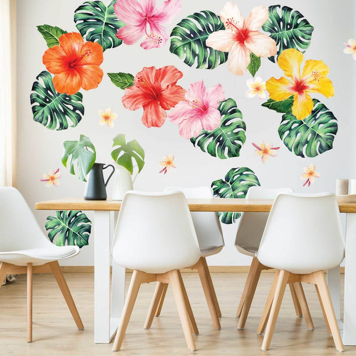 Tropical Hibiscus & Philodendron Tropical Watercolor Wall Decal Sticker Bundle