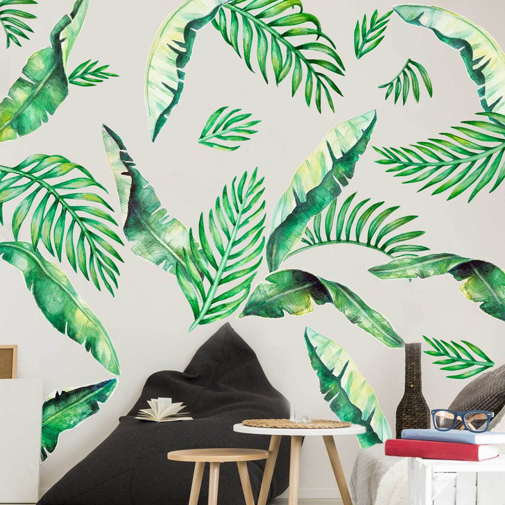 Banana Leaves & Palm Fronds Watercolor Wall Decal Bundle