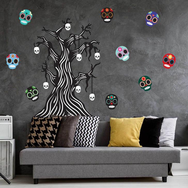 Twisted Bone Tree & Sugar Skull Halloween Wall Decal Sticker Bundle
