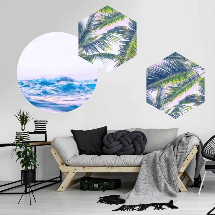 Paradise Palm & Pastel Sea Wall decal Bundle