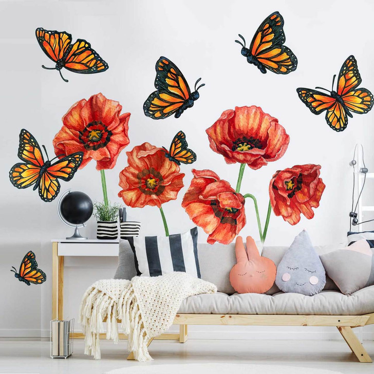 Wild Poppy & Butterfly Watercolor Floral  Wall Decal Sticker Bundle