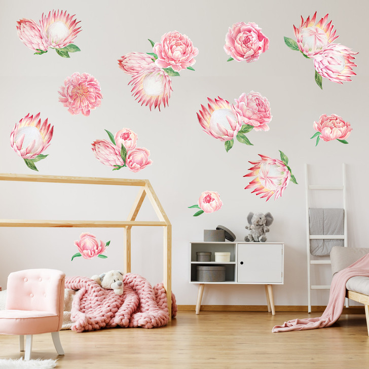 Pretty Pink Peonies & King Protea Watercolor Wall Decal Kit by Chromantics