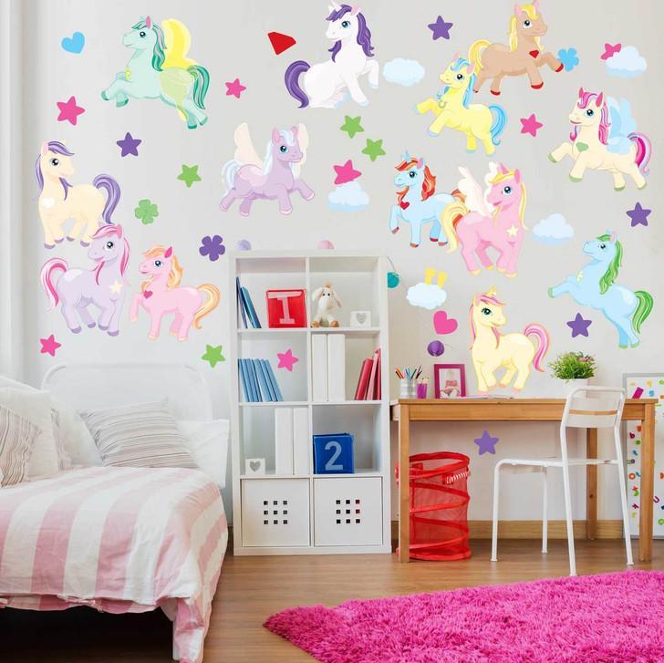 Enchanted Unicorn & Pony Wall Decal Bundle