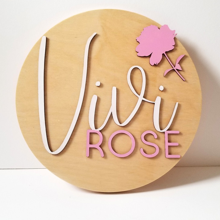 Custom Childrens Name Wooden Circle Sign