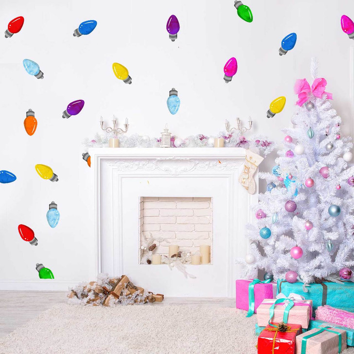 Colorful Christmas Lights Wall Decal Sticker Kit