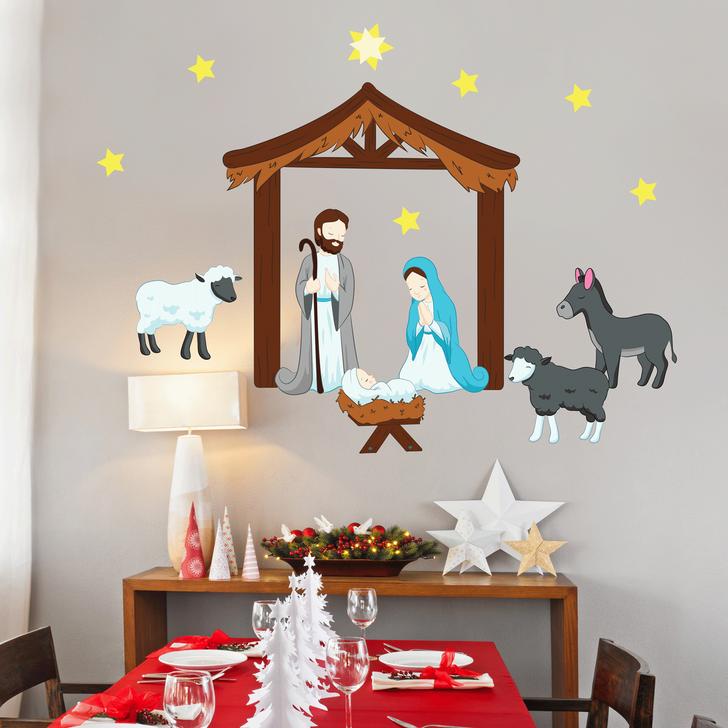 Nativity Scene Holiday Wall Decal Set by Chromantics