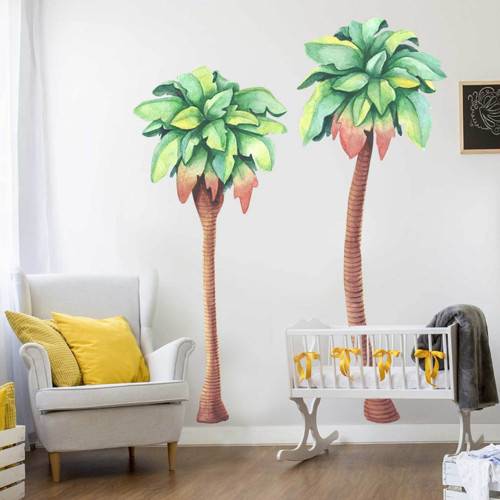 Sunset Palm Trees Watercolor Wall Decal Set Room
