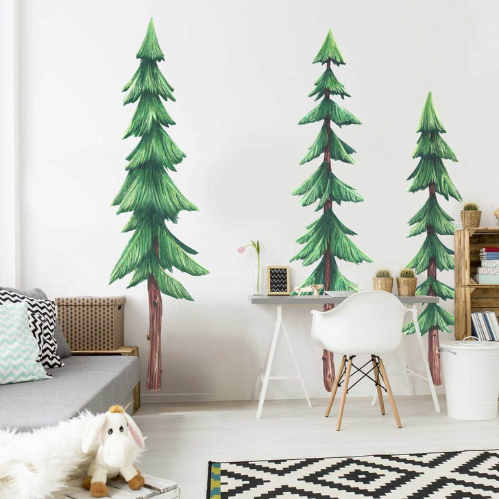 Set of Three Pine Trees Watercolor Wall Decals Room