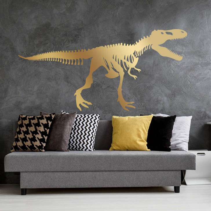 Large Tyrannosaurus Rex Skeleton Wall Decal Room in gold
