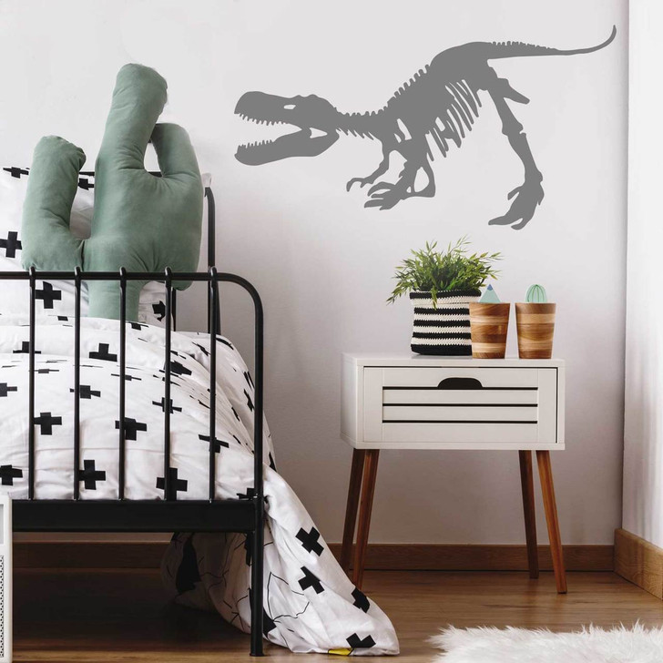 Crouching Tyrannosaurus Rex Skeleton Wall Decal Room in Gray