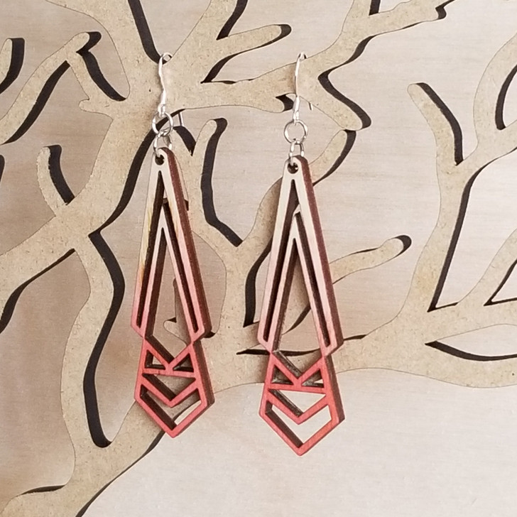 Bohemian Geometric Wooden Laser Cut Statement Earring by Bright on Birch