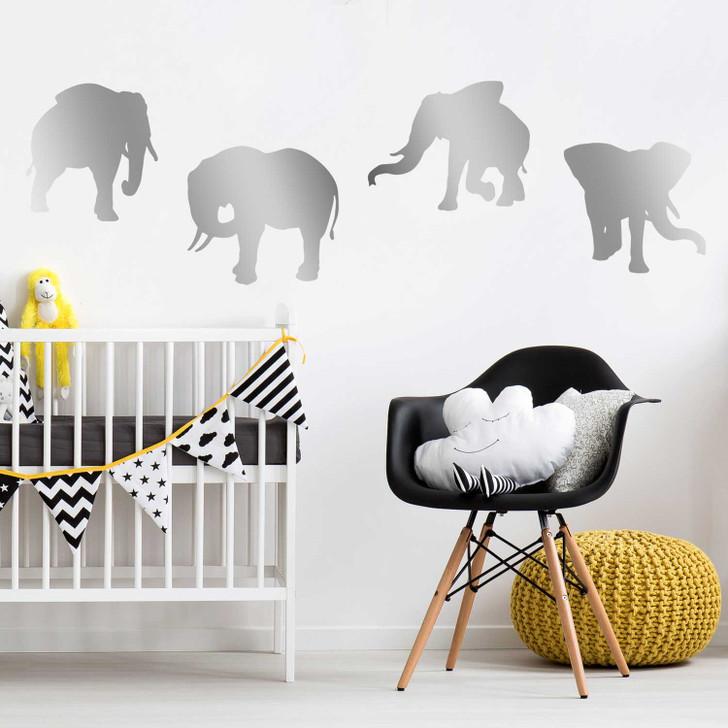 Elephant Silhouette Wall Decal Sticker Set