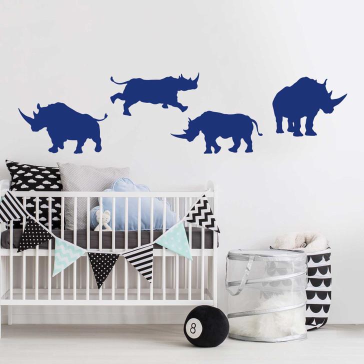 Rhinoceros Silhouette Wall Decal Sticker Set