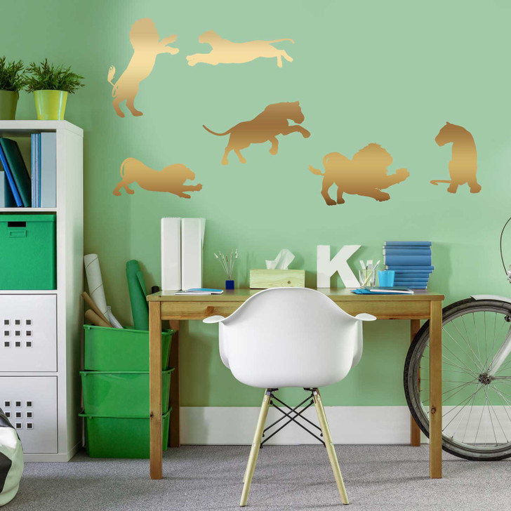 Lion Silhouette Wall Decal Sticker Set