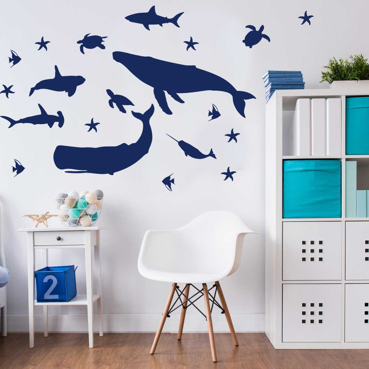 Sealife Silhouette Wall Decal Sticker Set