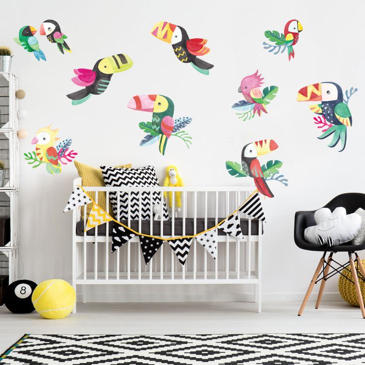 Tiki Tiki Birds Watercolor Wall Decal Sticker Kit