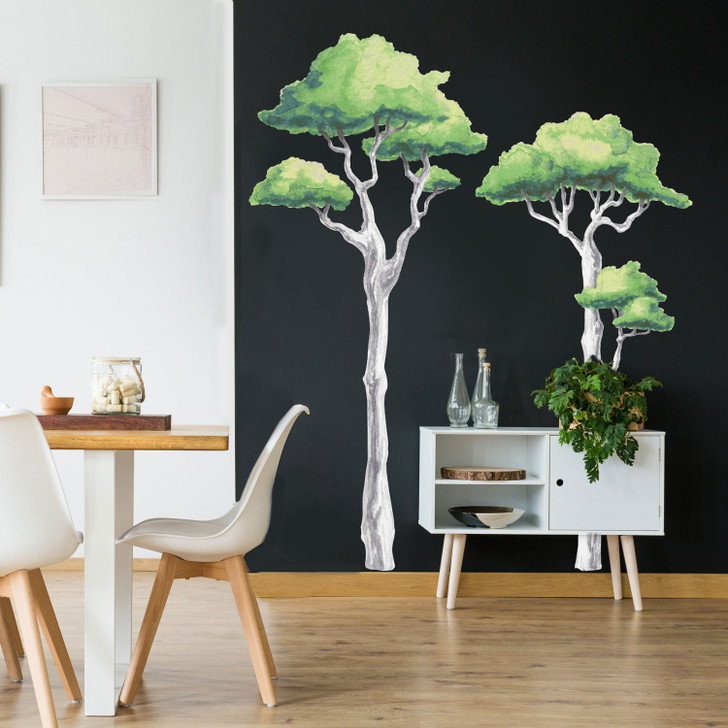 Towering Trees Watercolor Wall Decal Mural Kit