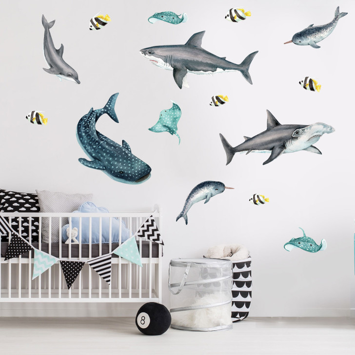 Shark & Sea life Watercolor Wall Decal Sticker Kit by chromantics
