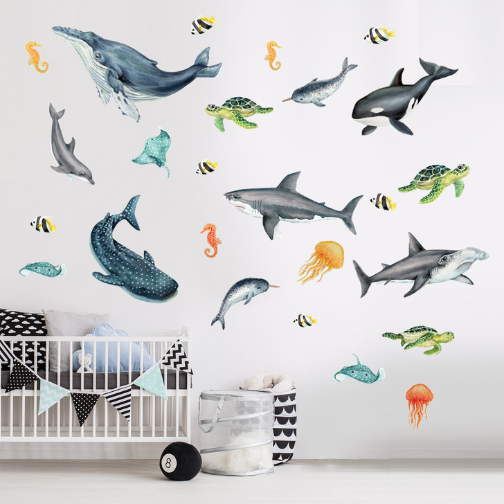 Super Sea life Watercolor Wall Decal Bundle by Chromantics